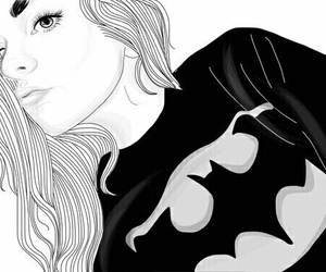 girl, outline, and batman image