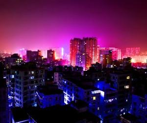 city, purple, and night image