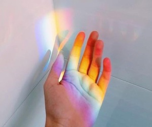 rainbow and hand image