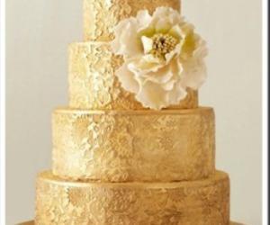 cake, wedding, and gold image
