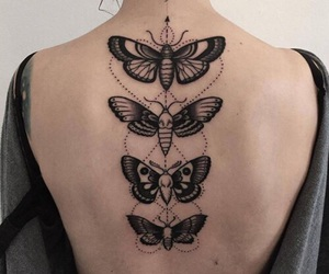tattoo, butterfly, and black image