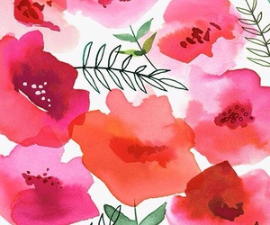 wallpaper, flowers, and watercolor image