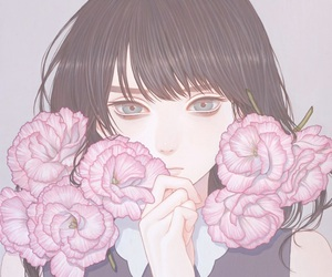 anime, girl, and flowers image