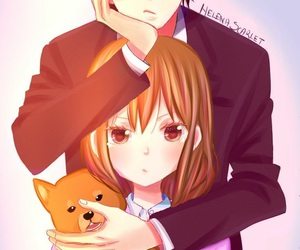 cute couple, girl, and kawaii image