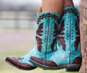 country, cowboy boots, and turquoise image