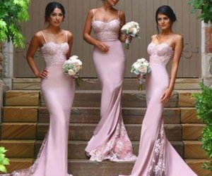 long, oink, and bridesmaid dress image
