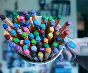color, mug, and pens image