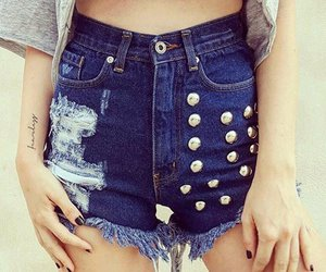 denim shorts, jeans, and rock image