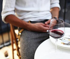 wine, food, and man image