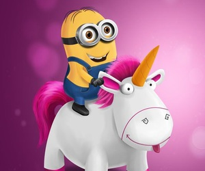 minions, unicorn, and pink image