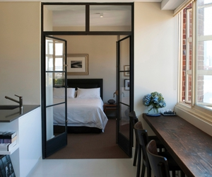 bedroom, french doors, and interior image