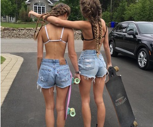 denim, shorts, and skateboard image
