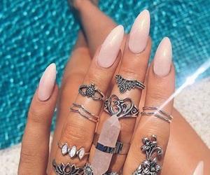 nails, rings, and summer image