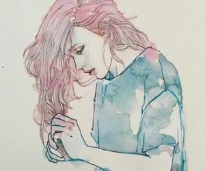 art, girl, and pink image