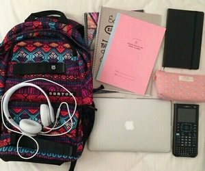 school, notebook, and apple image