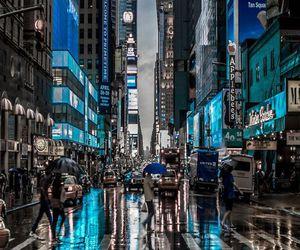 city, blue, and rain image