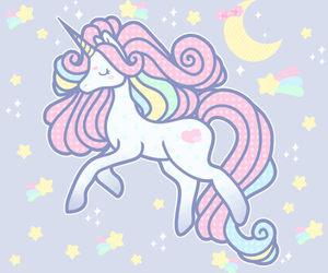 unicorn, stars, and pastel image