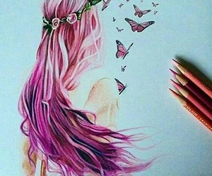 drawing, pink, and girl image
