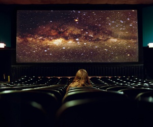 girl, galaxy, and cinema image