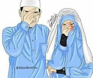 couple, drawing, and hijab image