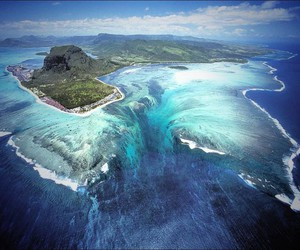 Island, ocean, and waterfall image