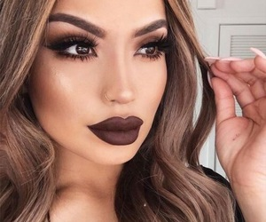 dark lips, eyelashes, and makeup image