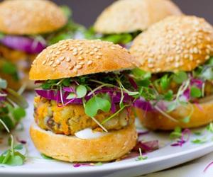 food, vegan, and vegan burger image