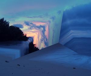 beach, dusk, and sunset image