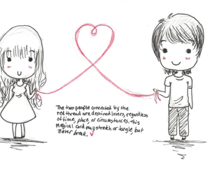 couple, red string of fate, and love image