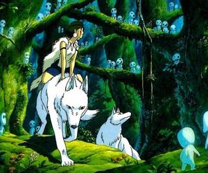 princess mononoke, wolf, and anime image