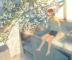 art, blossom, and boy image