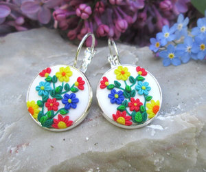 accessories, polymer clay jewelry, and boho earrings image