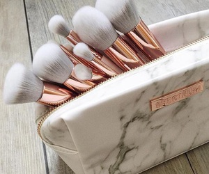 girl, marble, and makeup brushes image