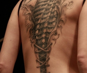 skull, spine, and tattoo image