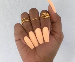 nails, orange, and rings image