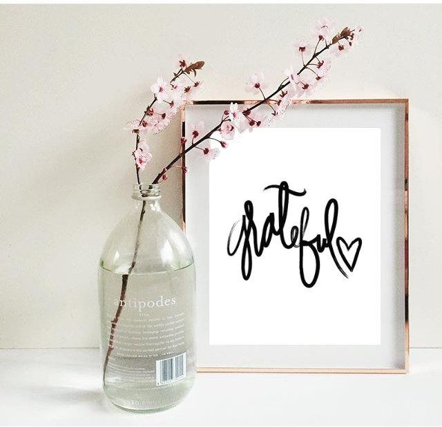 Grateful Handwritten Quote Room Decor Inspirational Tumblr Typographic Print Dorm Framed Quotes Office