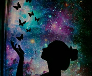 galaxy, butterfly, and girl image