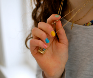 girl, nails, and necklace image