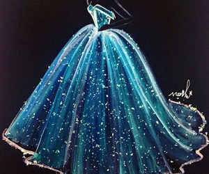 dress, blue, and art image