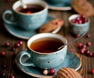 tea, cup, and biscuit image