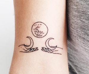 tattoo, moon, and hands image
