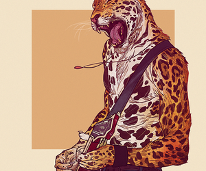 cheetah, leopard, and guitar image
