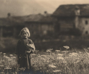 flowers, girl, and old image