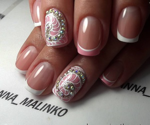 nails, white, and french image