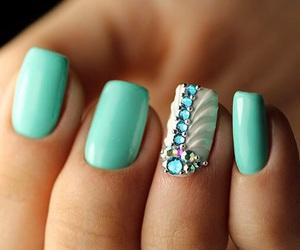 nails, rhinestones, and white image