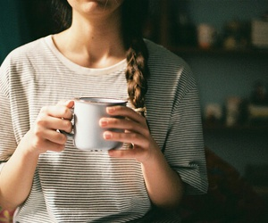 braid, cup, and girl image