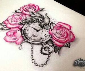 rose, bird, and art image