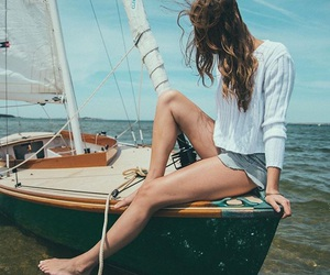 fashion, hair, and sailing image