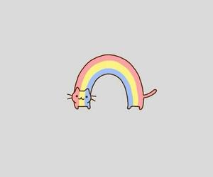 cat, wallpaper, and rainbow image