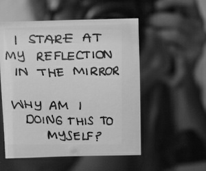 black and white, depression, and mirror image